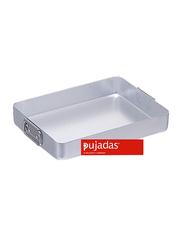 Pujadas 30cm Aluminium Rectangular Roasting Pan with Falling Handles, 1 Ltr, 30 x 23 x 5cm, Silver