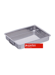 Pujadas 40cm Stainless Steel Rectangle Roasting Pan with Falling Handles, 6.5 Ltr, 40 x 30 x 6.5cm, Silver