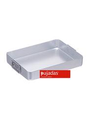 Pujadas 40cm Aluminium Rectangular Roasting Pan with Falling Handles, 1 Ltr, 40 x 30 x 6.5cm, Silver