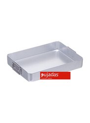 Pujadas 50cm Aluminium Rectangular Roasting Pan with Falling Handles, 1 Ltr, 50 x 35 x 7cm, Silver