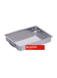 Pujadas 35cm Stainless Steel Rectangle Roasting Pan with Falling Handles, 5.2 Ltr, 35 x 27 x 5.5cm, Silver