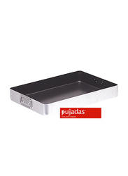 Pujadas 50cm Non-Stick Aluminum Rectangular Roast Pan with Falling Handles, 50 x 30 x 7cm, Silver/Black