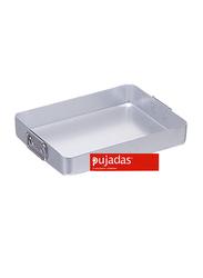 Pujadas 55cm Aluminium Rectangular Roasting Pan with Falling Handles, 1 Ltr, 55 x 40 x 8cm, Silver