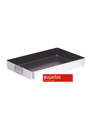 Pujadas 60cm Non-Stick Aluminum Rectangular Roast Pan with Falling Handles, 60 x 40 x 9cm, Silver/Black
