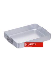 Pujadas 35cm Aluminium Rectangular Roasting Pan with Falling Handles, 1 Ltr, 35 x 27 x 5.5cm, Silver