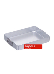 Pujadas 45cm Aluminium Rectangular Roasting Pan with Falling Handles, 1 Ltr, 45 x 32 x 6.5cm, Silver