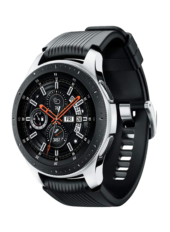 Samsung Galaxy R800 46mm Smartwatch, GPS, Silver Stainless Steel Case with Black Band