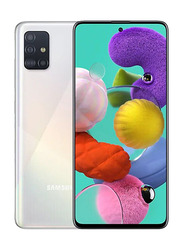 Samsung Galaxy A51 128GB Prism Crush White, 6GB RAM, 4G LTE, Dual Sim Smartphone, UAE Version