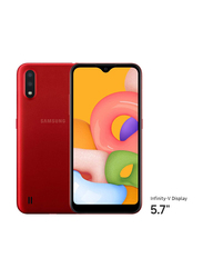 Samsung Galaxy A01 16GB Red, 2GB RAM, 4G LTE, Dual Sim Smartphone, UAE Version
