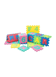 Rainbow Toys 36-Piece Alphabet and Number Puzzle Rubber Mat Set, Multicolor