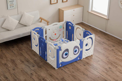 Rainbow Toys Colorful Sweet Baby Playpen Plastic Activity Center,  10 Panels,  Blue/White