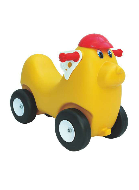 Rainbow Toys Cute Animal Yellow Ride On Car For Single Kid, Ages 2+