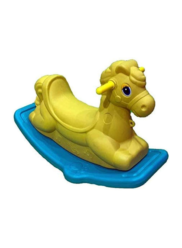 Rainbow Toys Rocking Horse Colorful Ride On Rocker, Yellow/Blue, Ages 2+