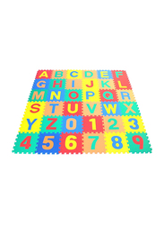 Rainbow Toys 36-Piece Set Number and Alphabet Puzzles Foam Play Mat, Multicolor