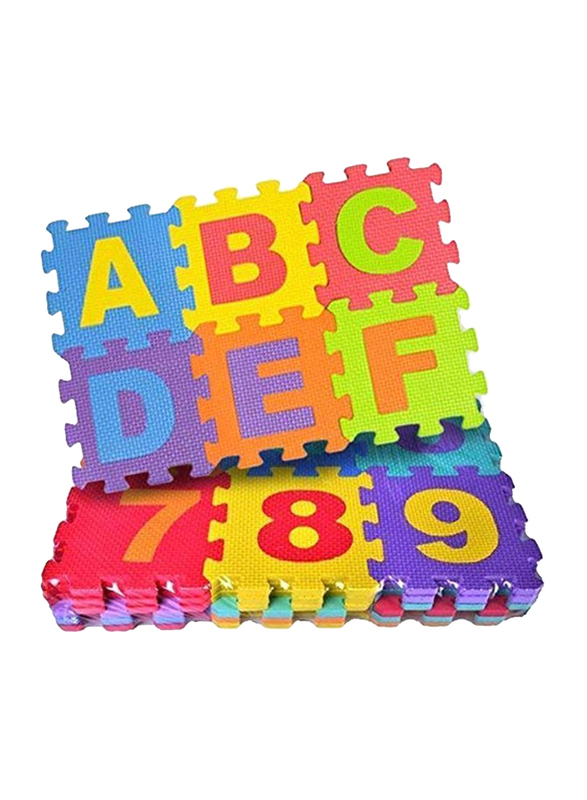 Rainbow Toys 36-Piece Alphabets and Number Puzzle Foam Mat Set, B07NX15BY8, Multicolor