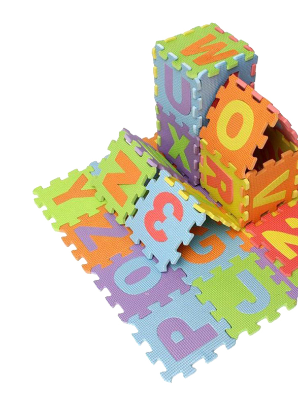 Rainbow Toys Numbers and Alphabets Printed Puzzle Foam Play Mat Set, Multicolor