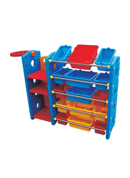 Rainbow Toys Stationery Organizer Shelf with 18 Containers and Basket Ball, Multicolor