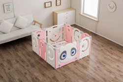Rainbow Toys Colorful Sweet Baby Playpen Plastic Activity Center,  10 Panels,  Pink/White