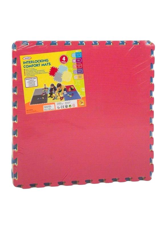 Rainbow Toys 4-Piece Exercise Play Puzzle Plain Rubber Mat Set, 60cm, Multicolor