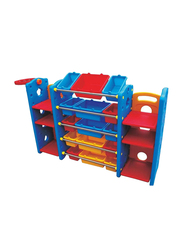 Rainbow Toys Stationery Organizing Shelf with 21 Containers and Basket Ball, Multicolor
