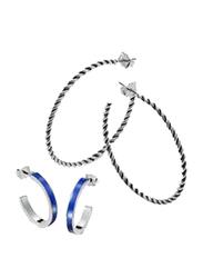 Avon 2-Piece Hello Sailor Hoop Earrings Set for Women, Black/Blue