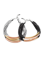 Avon 2-Pieces Joah Multi-Strand Bracelet for Women, Silver/Black