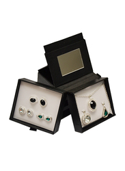 Avon 4-Piece Ella Wardrobe Jewellery Gift Set for Women, with Necklace, 3 x Pendant and 3 x Earrings, Black/Green/Silver