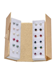 Avon 12-Piece Tawnie Two-tone Earrings Gift Set for Women, with Glass Stone and Faux Pearls, Multicolor
