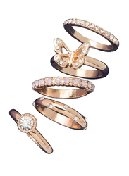 Avon Carrie Stackable Ring for Women, with Stones, Gold/White, Size 8