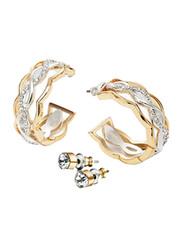 Avon 2-Piece Delaine Piercings Earrings Set for Women, Gold/Silver