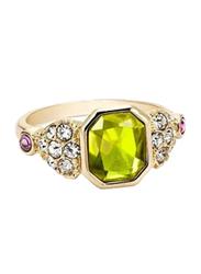 Avon Spark Surprise Fashion Ring for Women, with Diamond Stone, Green/Gold, Size 6