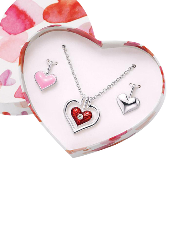 Avon Interchangeable Heart Pendant Necklace Set for Women, with 2 Pendants, Red/Pink/Silver