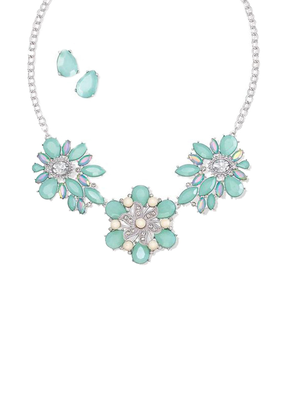 Avon Alice Bib Necklace for Women, Silver/Turquoise