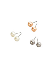 Avon 3-Piece Portia Stud Earrings Set for Women, Multicolor