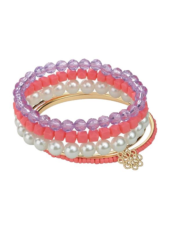 Avon Kelsey Beaded Bracelet Set for Women, with Acrylic Beads, Pink/Purple/White