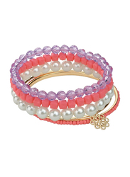 Avon Kelsey Beaded Bracelet Set for Women, with Acrylic Beads, Pink/Purple/White