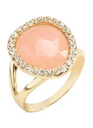 Avon Lara Rose Fashion Ring for Women, with Diamond Stones, Gold/Pink, Size 8