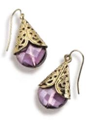 Avon Katerina Hoop Earrings for Women with Diamond, Purple/Gold