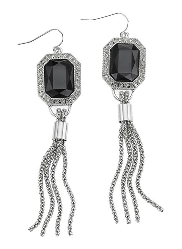 Avon Tassel Hoop Earrings for Women, with Diamond, Silver/Black