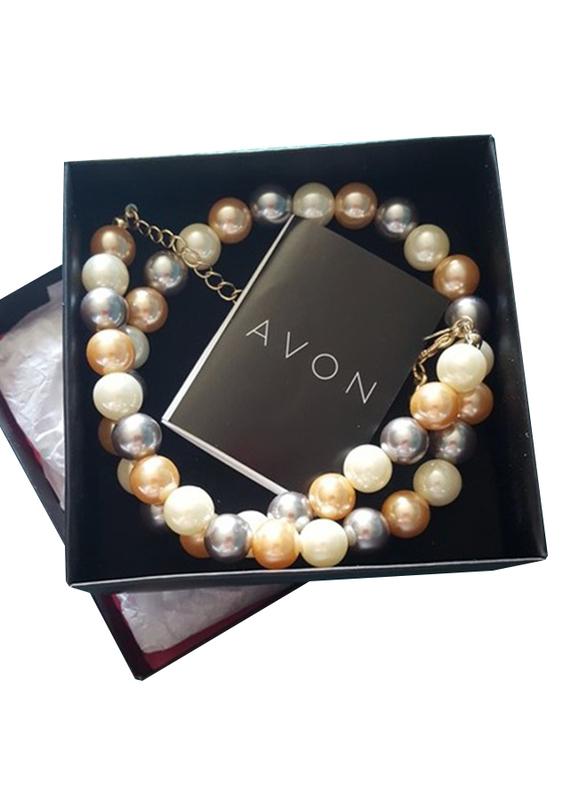 Avon Portia Pearl Necklace for Women, White/Brown/Black