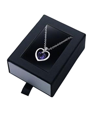 Avon Ailis Heart Pendant Necklace for Women, with Crystals from Swarovski, Purple