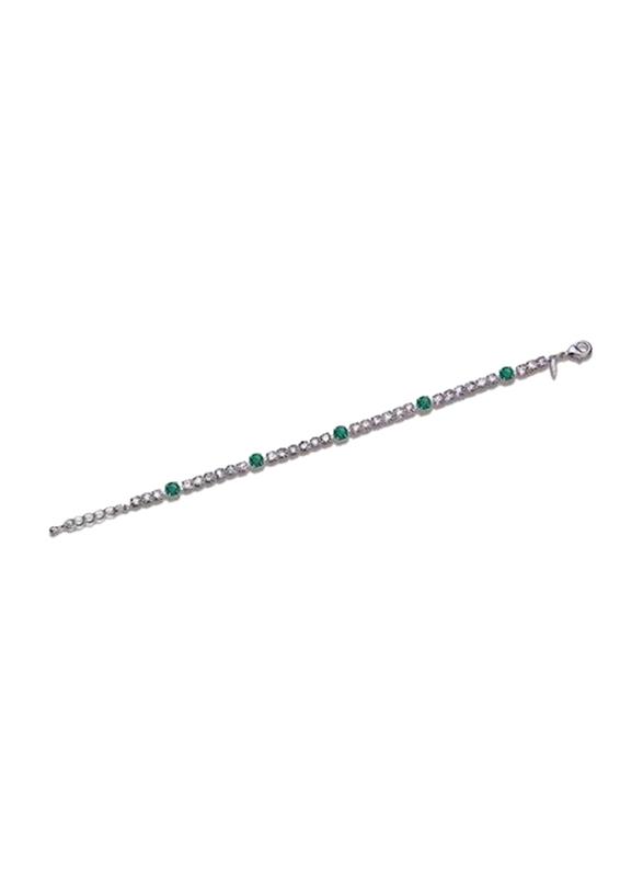Avon Khimberly Sapphire Look Chain Bracelet for Women, Silver/Green