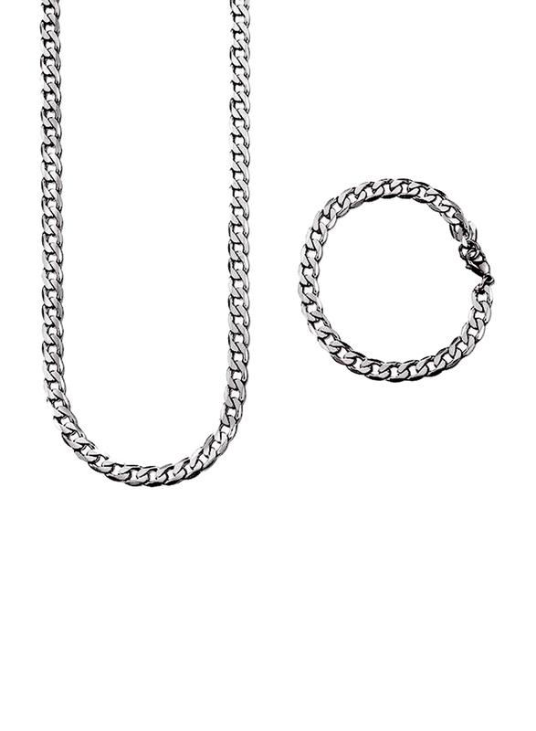 Avon 2-Piece Conlan Chain Necklace for Men with Bracelet, Silver