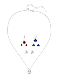 Avon 7-Piece Harlee Silver Plated Wardrobe Jewellery Gift Set for Women, with Necklace, 3 x Pendant and 3 x Earrings, with Glass Stones, Silver/Blue/Red