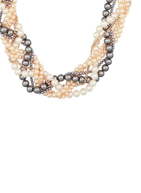 Avon Olivia Plaited Pearl Necklace for Women, Gold/White/Black