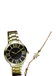 Avon Velda Analog Watch for Women with Stainless Steel Band, Water Resistant with Star Bracelet, Gold-Black