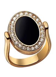 Avon Sydney Flip Fashion Ring for Women, with Diamond Stone, Black/Gold, Size 6
