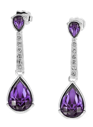 Avon Statuesque Silver Plated Drop Earrings for Women, with Diamonds, Purple/Silver