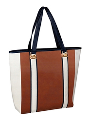 Avon Empire Color Block Polyester Tote Bag for Women, Brown