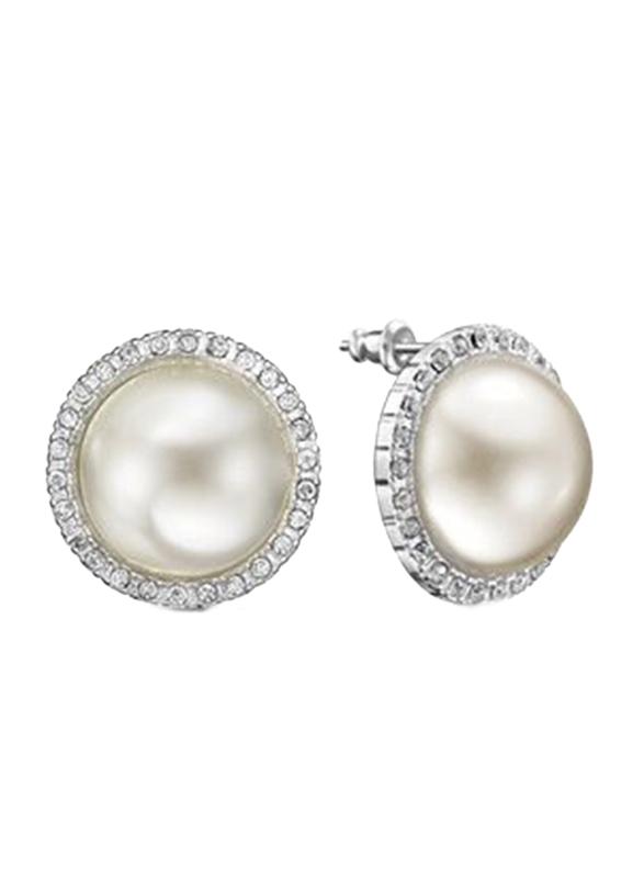 Avon Rubin Stud Earrings for Women, White/Silver